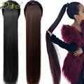 Длинный прямой синтетический конский хвост DIFEI 5 размеров черный/коричневый термостойкий шиньон с зажимом для удлинения волос для женщин