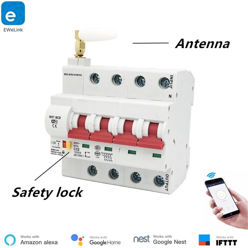 EWeLink 4P 16A-125A Controle Remoto Wi-fi Disjuntor/Interruptor Inteligente/Religador Automático apoio alexa e google casa