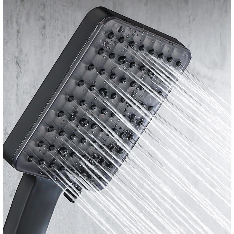 H0580f377ed1244f5a96ec3e3bccd54fcM Piano Digital Bathroom Shower Set SDSN 12 Inch Rainfall Shower Head Solid Brass Bathroom Faucets Matte Black Thermostatic Shower
