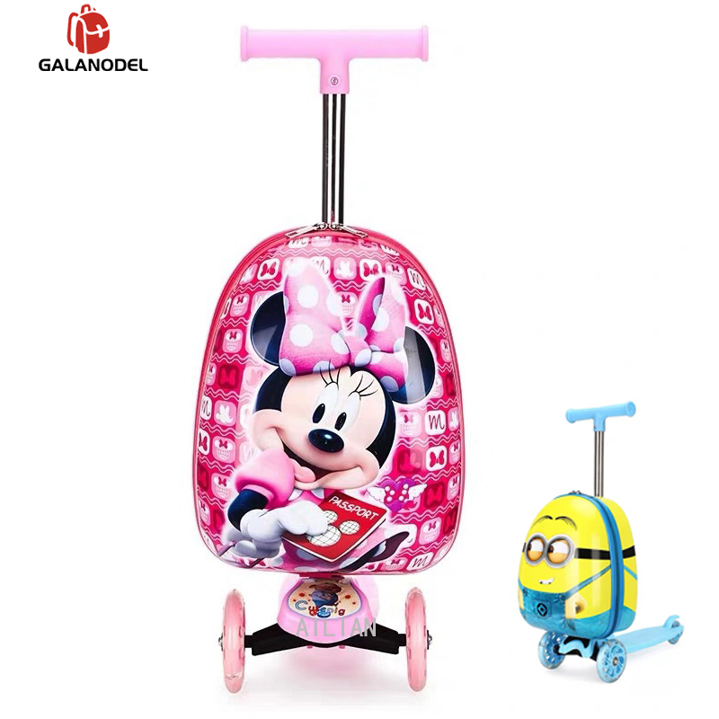 """Cartoon 16"""" Inch Child Scooter Suitcase Small Gift Cute Carry On Trolley Luggage Bag For Kid Suitcase On Wheels Rolling Luggage"""