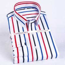 الرجال كتلة اللون مخطط التجاعيد مقاومة فستان قميص طويل الأكمام القياسية صالح زر مخفي طوق عادية نقية تي شيرتات قطن