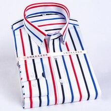 Blocco di Colore degli uomini A Strisce Grinza Resistente Camicia di Vestito Lungo Manicotto Standard fit Pulsante Nascosto Collare Casual puro Cotone Camicette