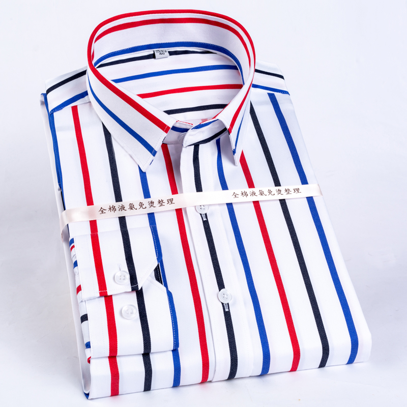 Men's Color Block Striped Wrinkle-Resistant Dress Shirt Long-Sleeve Standard-fit Hidden Button Collar Casual Pure Cotton Shirts