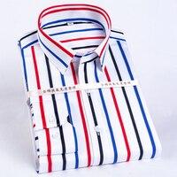 Men's Color Block Striped Wrinkle Resistant Dress Shirt Long Sleeve Standard fit Hidden Button Collar Casual Pure Cotton Shirts