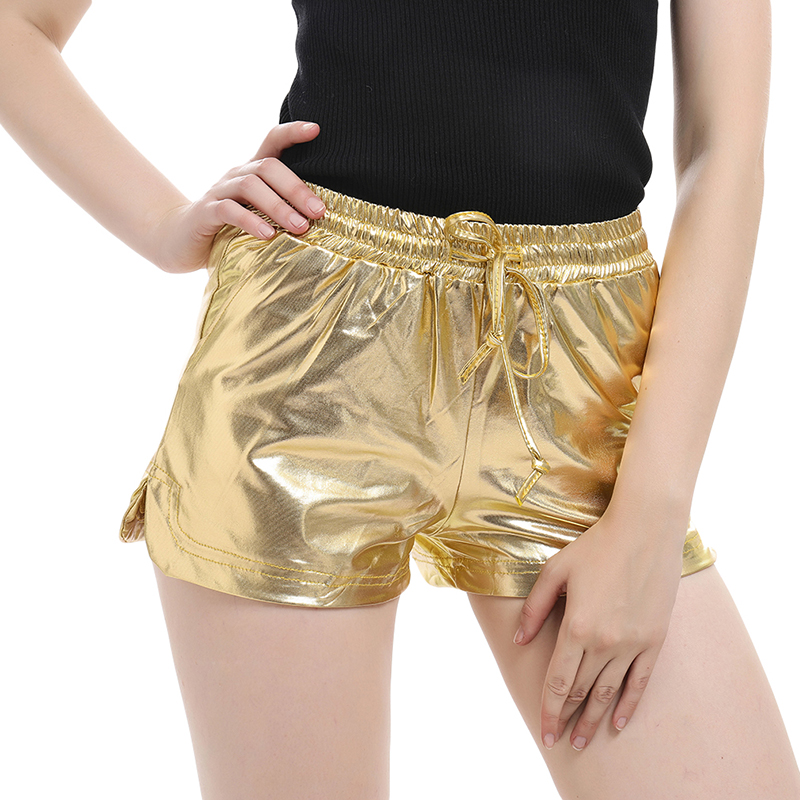 Women Shiny Metal Color Hot Shorts 2020 Summer Casual Elastic Drawstring Festival Rave Shorts