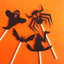Cake Topper Funny Halloween Decoration Ghost Tooth Bat Acrylic DIY Baking Card Cutout Party Dress Up G