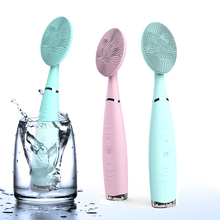 Handheld Electric Facial Cleansing Massager Brush Silicone Sonic Face Cleaner Machine Deep Pore Cleaning Skin Care Tool Beauty soft silicone facial face deep cleansing clean wash pore skin care brush mini electric face washing exfoliating machine massager