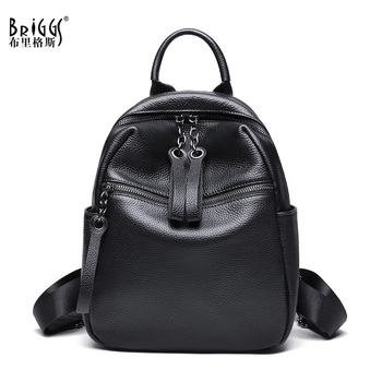 BRIGGS Women Genuine Leather Backpack Black Small School Backpacks For Teenage Girls Lady Travel Bag Bolsas Mochila Feminina women leather backpack pink bolsas mochila feminina large girl schoolbag travel bag genuine leather lady backpacks candy color