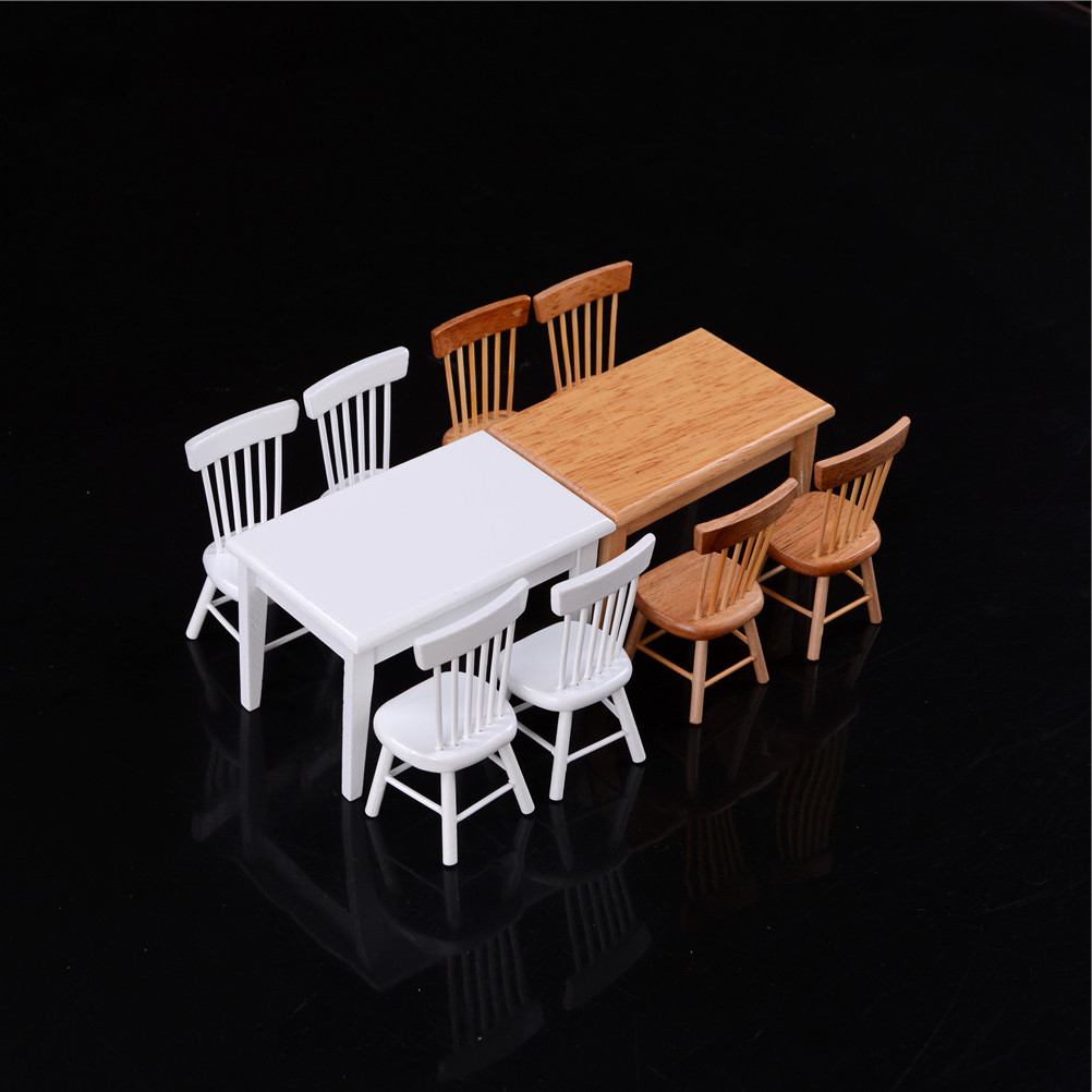5Pcs/set 1/12 Scale Miniature Wooden Dining Chair Table Furniture Set For Doll house 1:12 Kitchen Food Furniture Toy Accessories