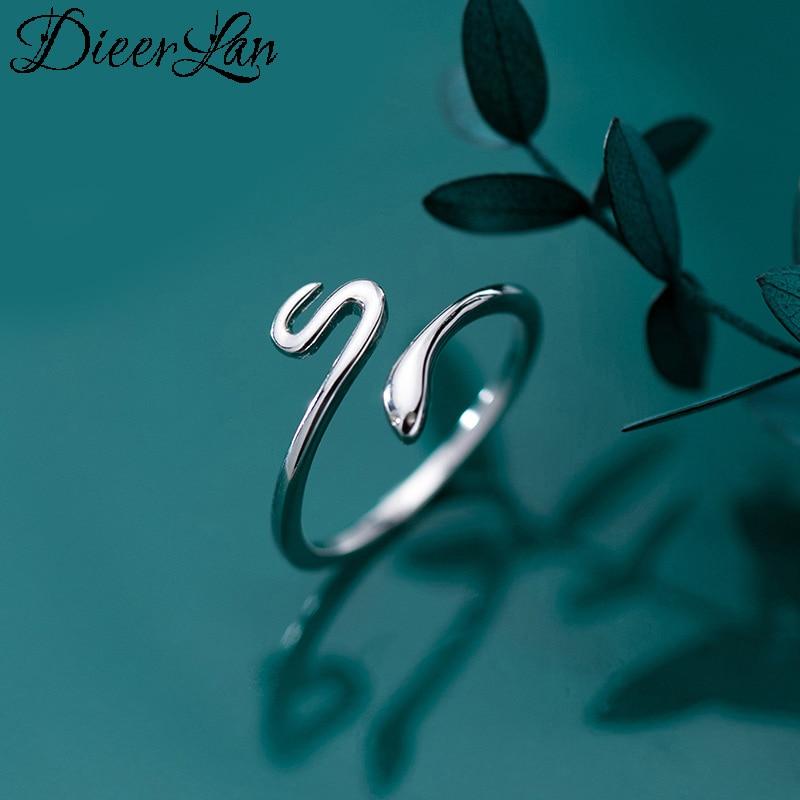 Anillos De Serpiente de cristal para mujer, de Plata de Ley 925 Vintage con personalidad, anillos ajustables de plata tailandesa Punk