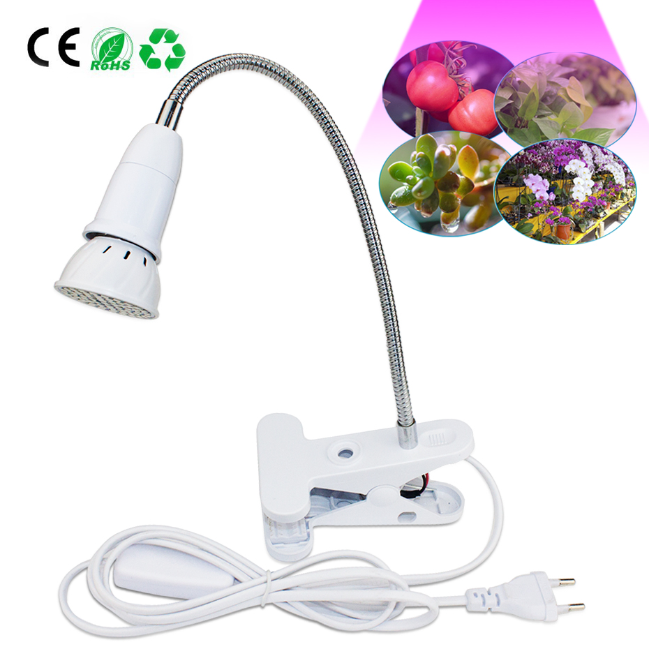 Full Spectrum Grow Light With Flexible Metal Hose EU US Plug E27 Base Indoor Clip-on Flower Fruit Succulent Plant Growing Lights