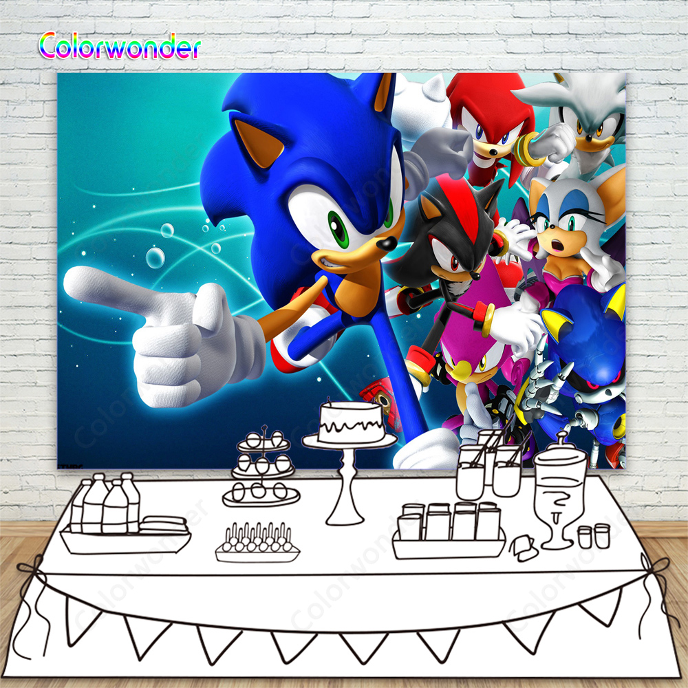 Sonic The Hedgehog Party Supplies Photography Backdrops Children Birthday Step And Repeat Dessert Table Banner Photo Background Background Aliexpress