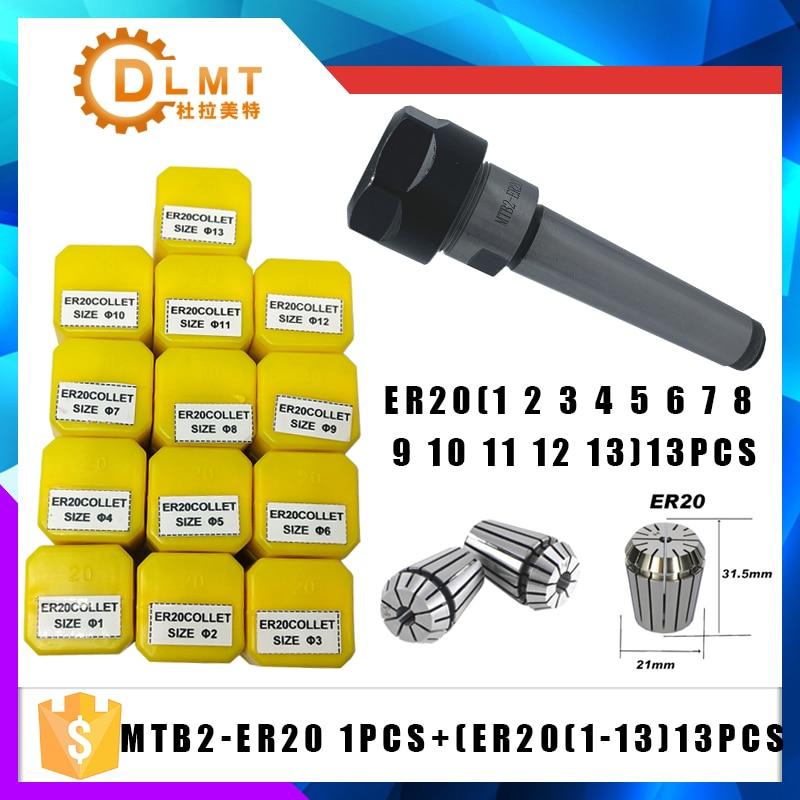 1PCS Handle MT2 ER20 MTB2 ER20A M6 Morse#2 Taper Holder Collet Chuck+13pcs Spring Collet 1/2/3/4/5/6/7/8/9/10/11/12/13MM