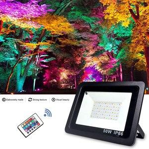 Image 3 - RGB LED フラッドライト防水 100 ワット 50 ワット 30 ワット 220V 230V カラフルなリモコン屋外壁ランプ庭プロジェクター