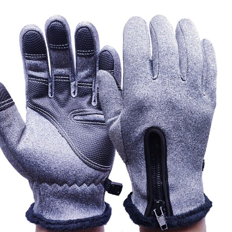 New Winter Warm Touch Screen Gloves Men Women Windproof Ski Gloves Zipper Velvet Lining Anti-slip Cycling Skiing Warm Mittens