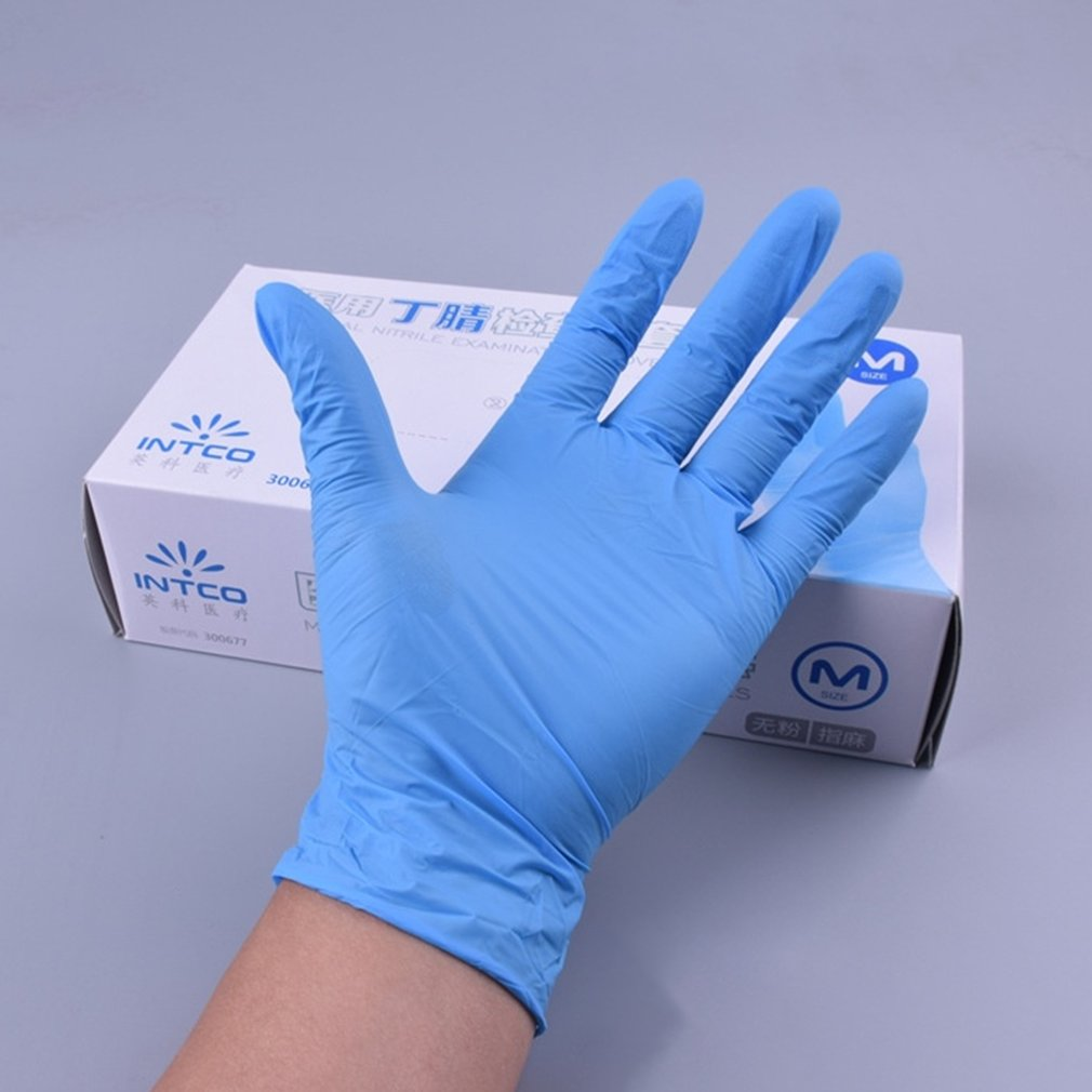 100pcs/Box Vinyl Gloves Disposable Gloves Powder-free Industrial Food Safety 3mm Blue Translucent Pvc Gloves Nitrile Gloves