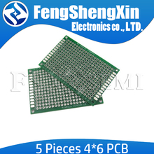 5pcs/lot New 4x6cm PCB 4*6 Double Side Prototype PCB diy Universal Printed Circuit Board