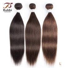 בובי אוסף 1 צרור צבע 2 חום כהה הודי שיער Weave חבילות צבע 4 ישר שיער טבעי הערב ללא רמי הארכת שיער