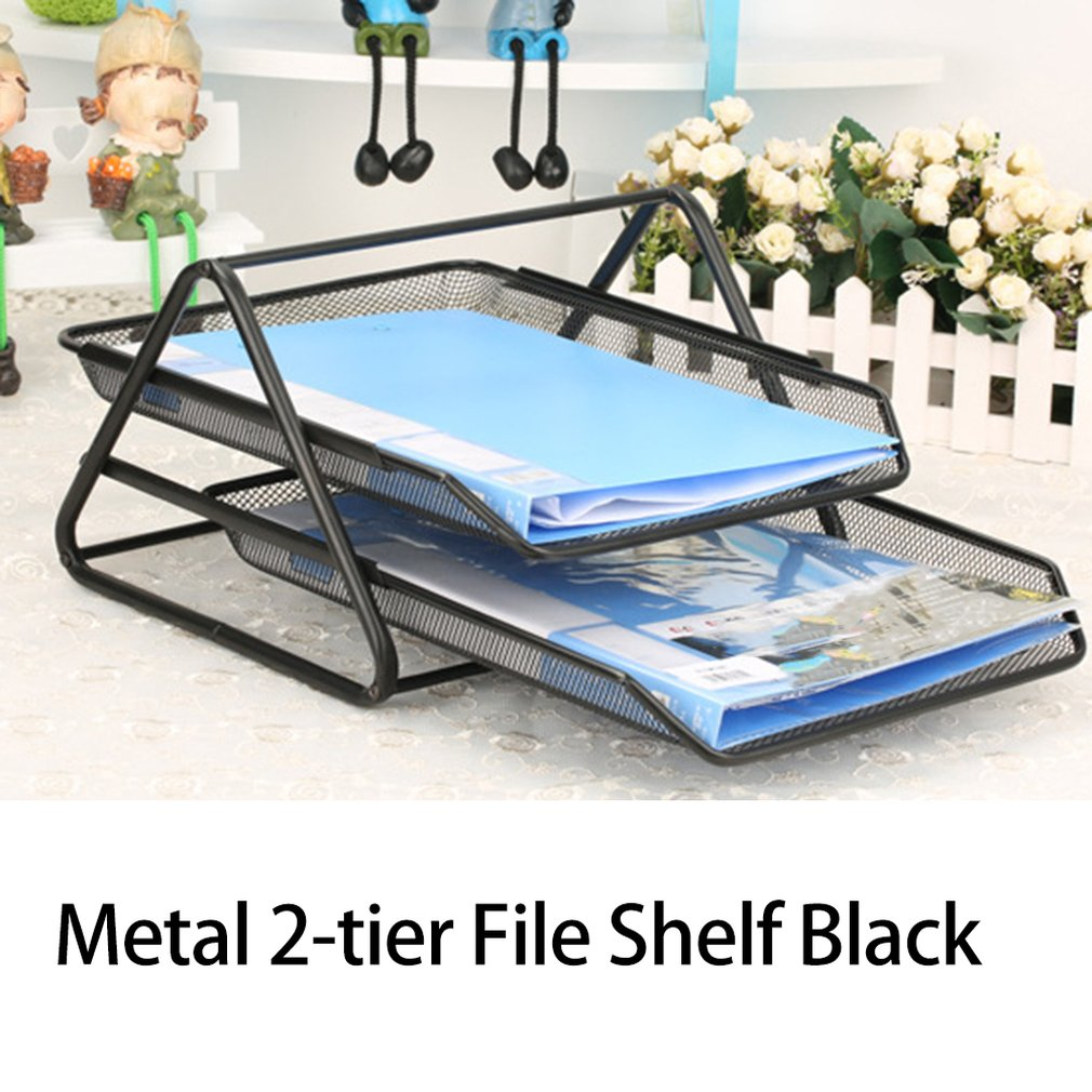 Office Supplies Barbed Wire Metal Two-Layer File Holder Data Tray File Tray Anti-Rust Magazine Bar Office File Storage Rack