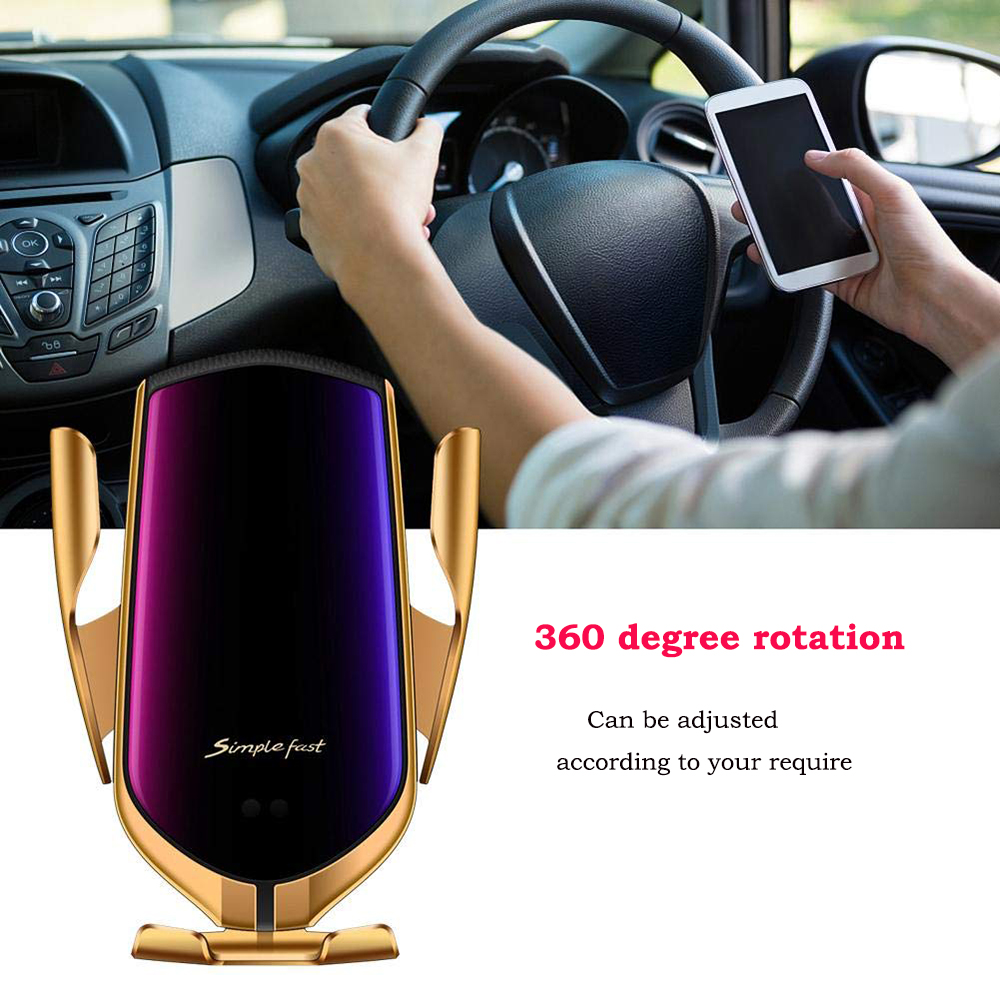 12Automatic Clamp 10W Car Wireless Charger