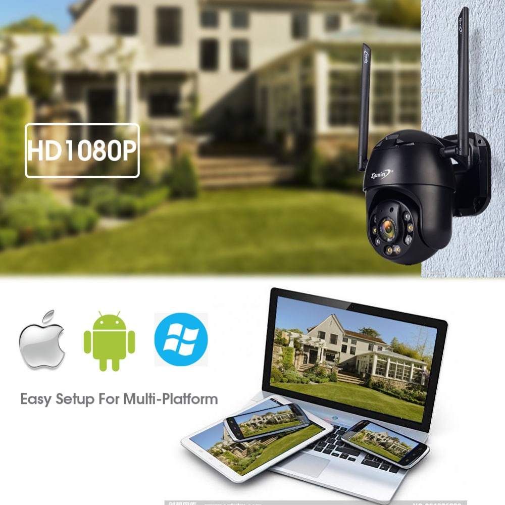 H0581f1637394414fa463373439ad4e1ed Zjuxin PTZ IP Camera WiFi HD1080P Wireless Wired PTZ Outdoor CCTV Security Camra Double light human detection AI cloud camera