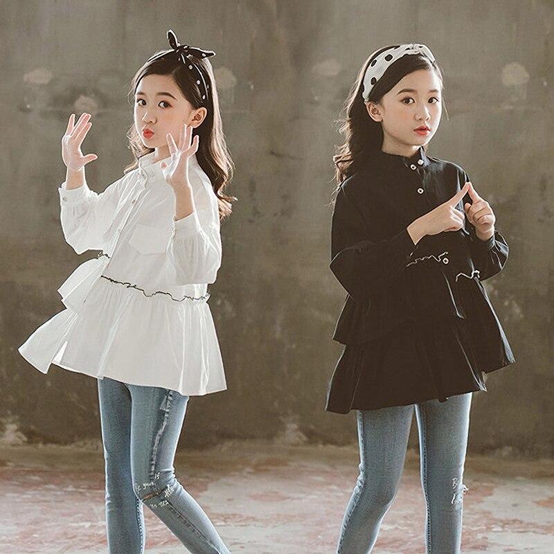 Blusa branca Escolar Para Adolescentes Menina Babados de Algodão Sólida Criança Crianças Blusas e Camisas Crianças Boutique de Roupas Topos 12 13Y
