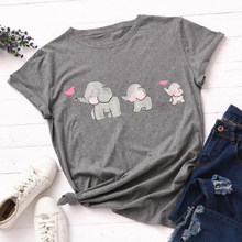 Harajuku Mode T-shirt Grafische Tees Vrouwen Print T-shirt Slim Fit Leuke Meisje T-shirts Olifant Familie Tees Tops Zomer shirt(China)