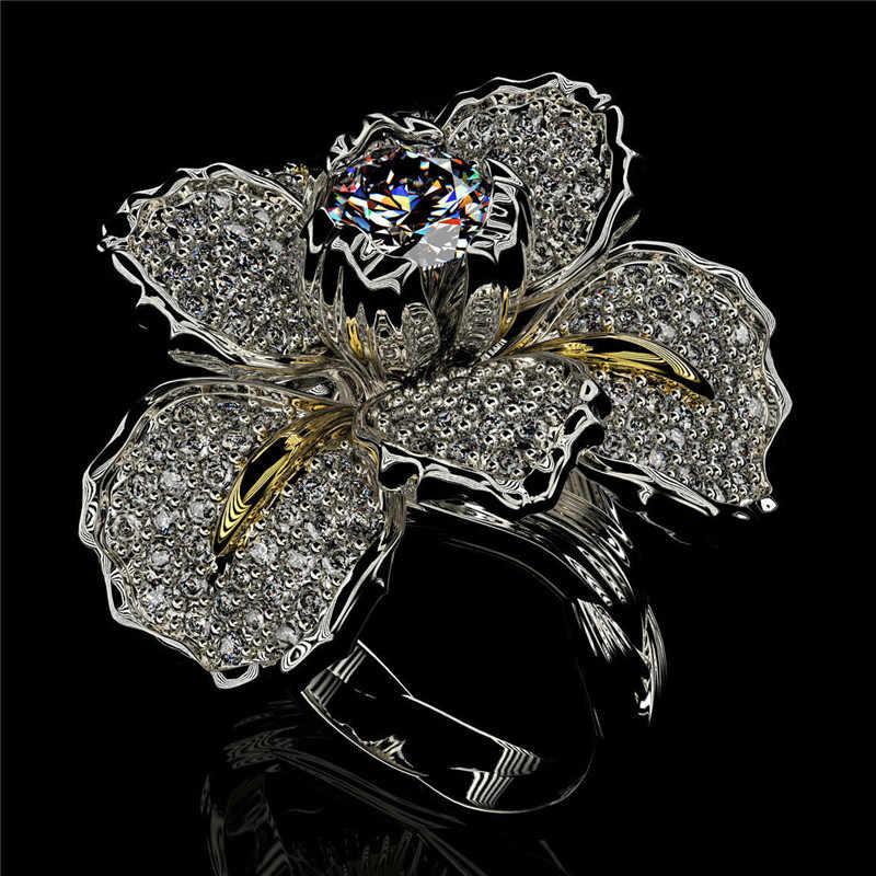 高級女性ビッグ白青花リングチャームクリスタルジルコン石婚約リングエレガントなシルバーゴールドの結婚指輪