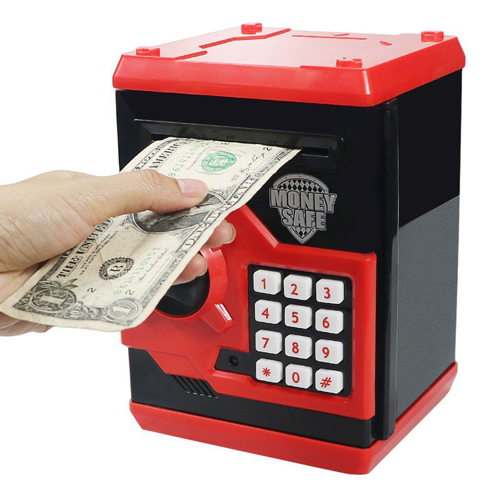 Automatic Electronic Piggy Bank ATM Password Money Box Cash Coin Saving Box Automatic Deposit Banknote Toys ATM Bank Safe Box