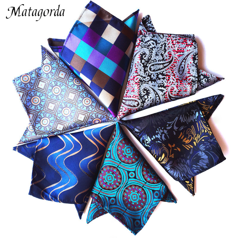Fashion Men Hanky Paisley Grid Silk Pocket Towel Geometry Wedding Business Suit Handkerchief Green Square Scarf Neckerchief