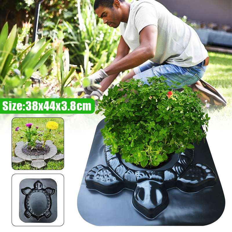 2 In 1 DIY Garden Path Paving Maker Mold Planting Flower Turtle Shape Outdoor Courtyard Carving Pavement Road Concrete Mold