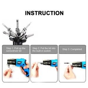 Image 5 - 6 In1 Mini 6V batterie sans fil tournevis électrique tournevis rotatif avec lumière de travail et 14 Bits pour lentretien ménager