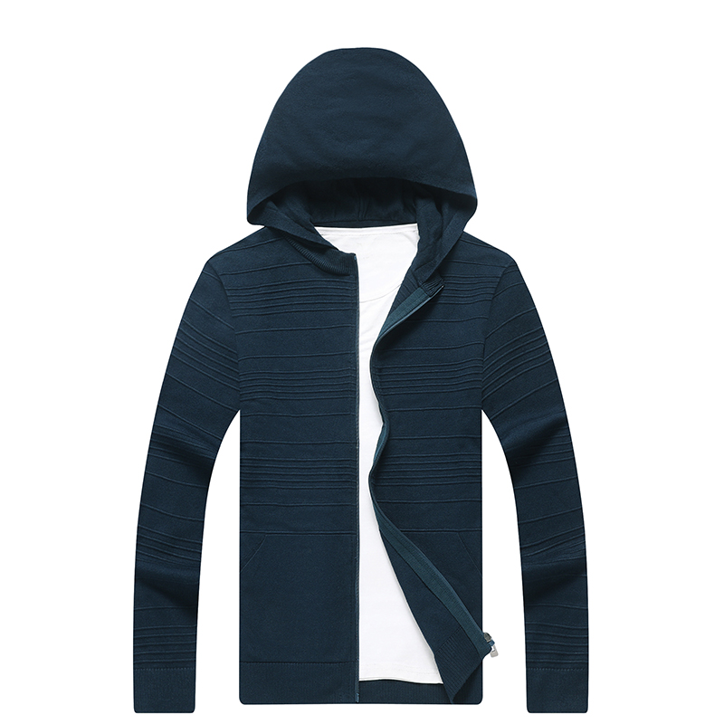 New Arrival Autumn Cardigan Men Fashion Hooded Collar Slim Fit Mens Sweaters Solid Color Men Cardigan Hombre