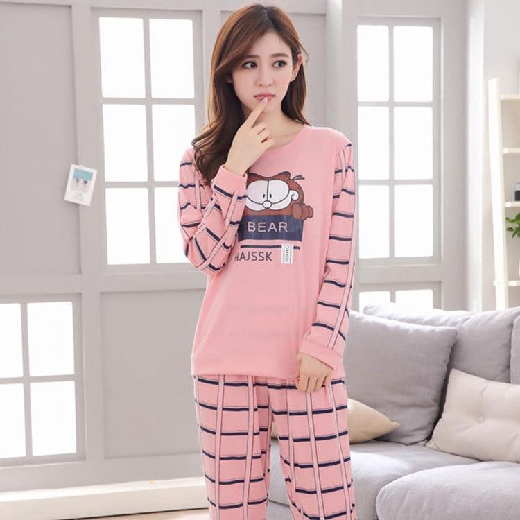 Hot Selling Cartoon Garfield Pajamas Women Long Sleeve Trousers Sweet Cute Women's Tracksuit Women's Spring And Autumn Set