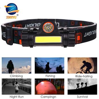 Lampa czołowa LED światło robocze reflektor przenośne reflektory robocze XPE + 2 * COB Head Light USB latarka czołowa z akumulatorem najlepsze na kemping tanie i dobre opinie NoEnName_Null CN (pochodzenie) ROHS Żarówki LED Wysokie Średnie Niskie 2*COB +XPE 60° LITHIUM ION