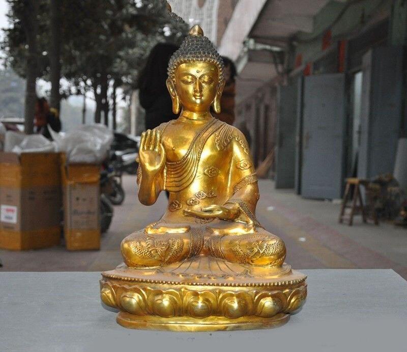 Wedding Decoration Tibet Buddhism Bronze Gilt Dragon Shakyamuni Shakya Mani Tathagata Buddha Statue