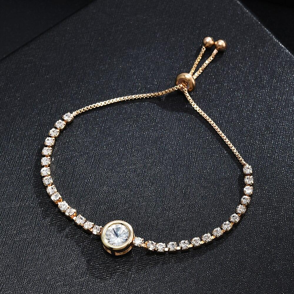 Heart Round Bracelet Simple Cute Crystal Chain Bracelet Women Charm Sweet Jewelry 2
