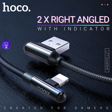 hoco cable usb a for lightning for iphone ipad zinc connector right angled fast charging data sync wire cord charger indicator кабель a data lightning usb для iphone ipad ipod 1м золотистый amfial 100cmk cgd