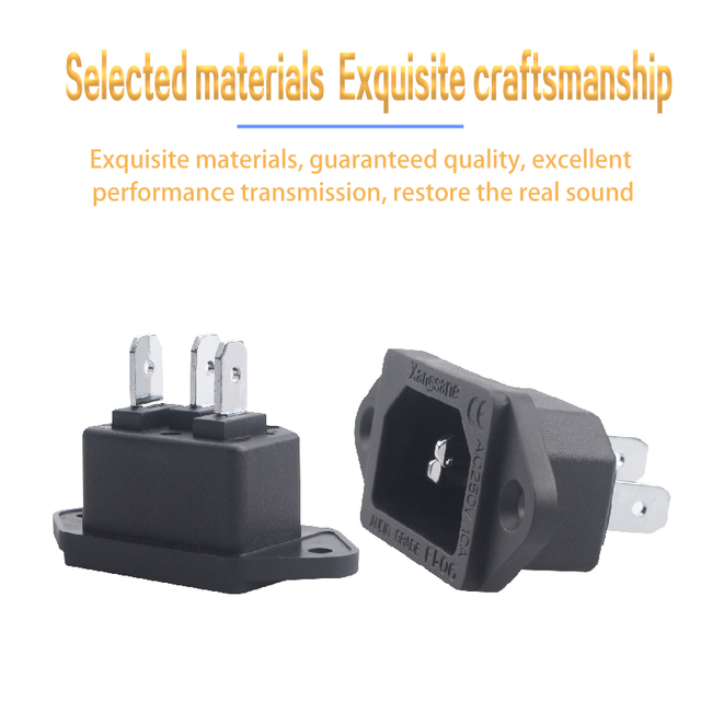 Connecteur Audio IEC à souder en cuivre pur, prise de câble dalimentation damplificateur Hifi, Interface de queue, prise de filtre
