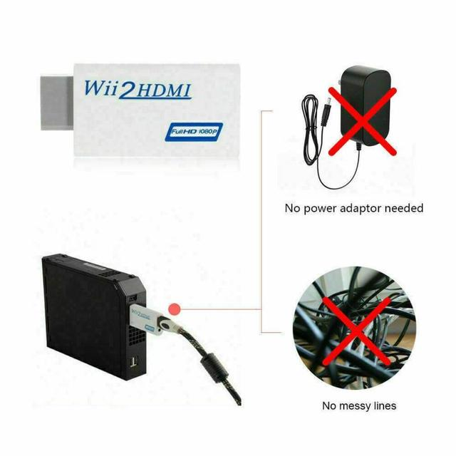 High Quality Full HD 1080P Wii To HDMI Converter Adapter Wii2HDMI Converter 3.5mm Audio For PC HDTV Monitor Display