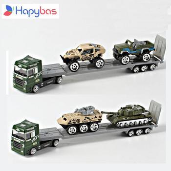 Legering Auto Transporter 1 64 army truck met autos voertuigen legering metalen model auto carrier speelgoed gift collection