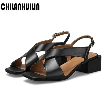 soft leather women high heels summer shoes cross tie gladiator sandal classic ladies metal buckle casual dress beach shoes woman