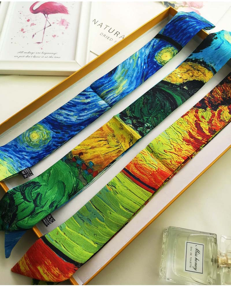 Classic Skinny   Scarf   Van Gogh oil painting Fashion Women Silk   Scarf   Small Handle Bag Ribbons Female Head   Scarves  &  Wraps   B85