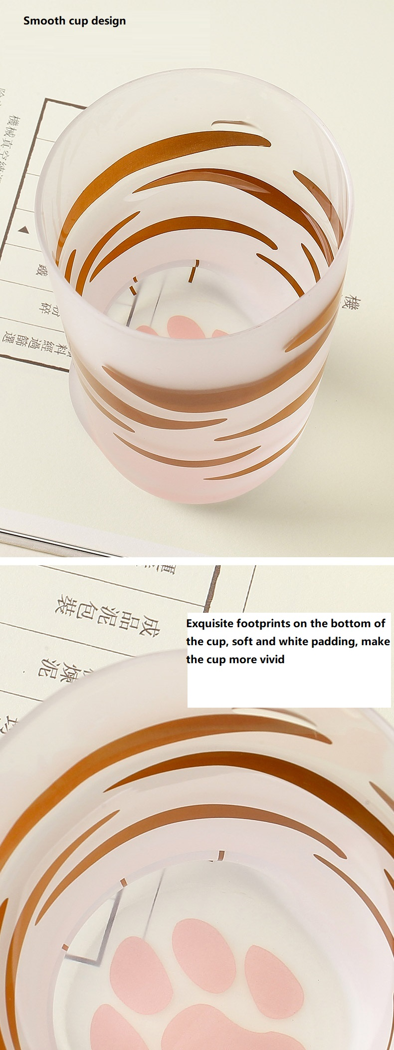 H058310a68ead409ab89b3836cedae9ffY - 350ml Mug Heat-resistant Glass Cat Cup Tiger Paws Office Matte Cat Paws Creative Milk Coffee Cup Cute Children Drink Bottle