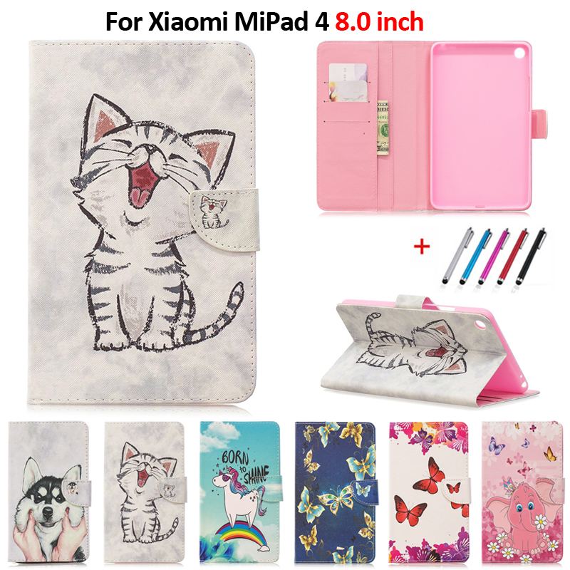 Cute Cat Unicorn Puppy Butterfly Tablet Cover For Funda Xiaomi Mi Pad 4 Case 8.0