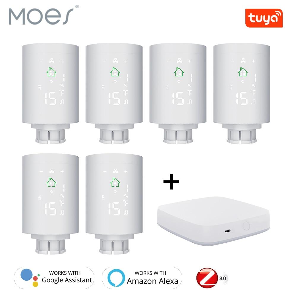 Tuya ZigBee3.0 Smart Radiator Actuator Programmable Thermostatic Radiator Valve Temperature Controller Voice Control Via Alexa