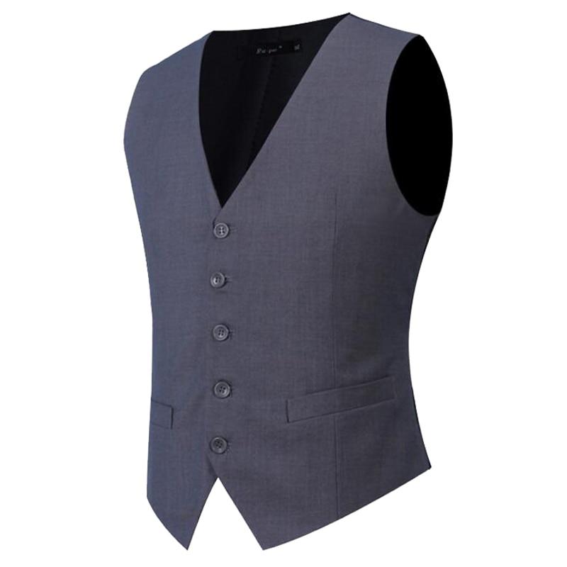 Plus Size S-7XL Fashion Slim Fit Sleeveless Mens Wedding Waistcoats 9 Colors Solid Waistcoat Men Dress Vests Y122306