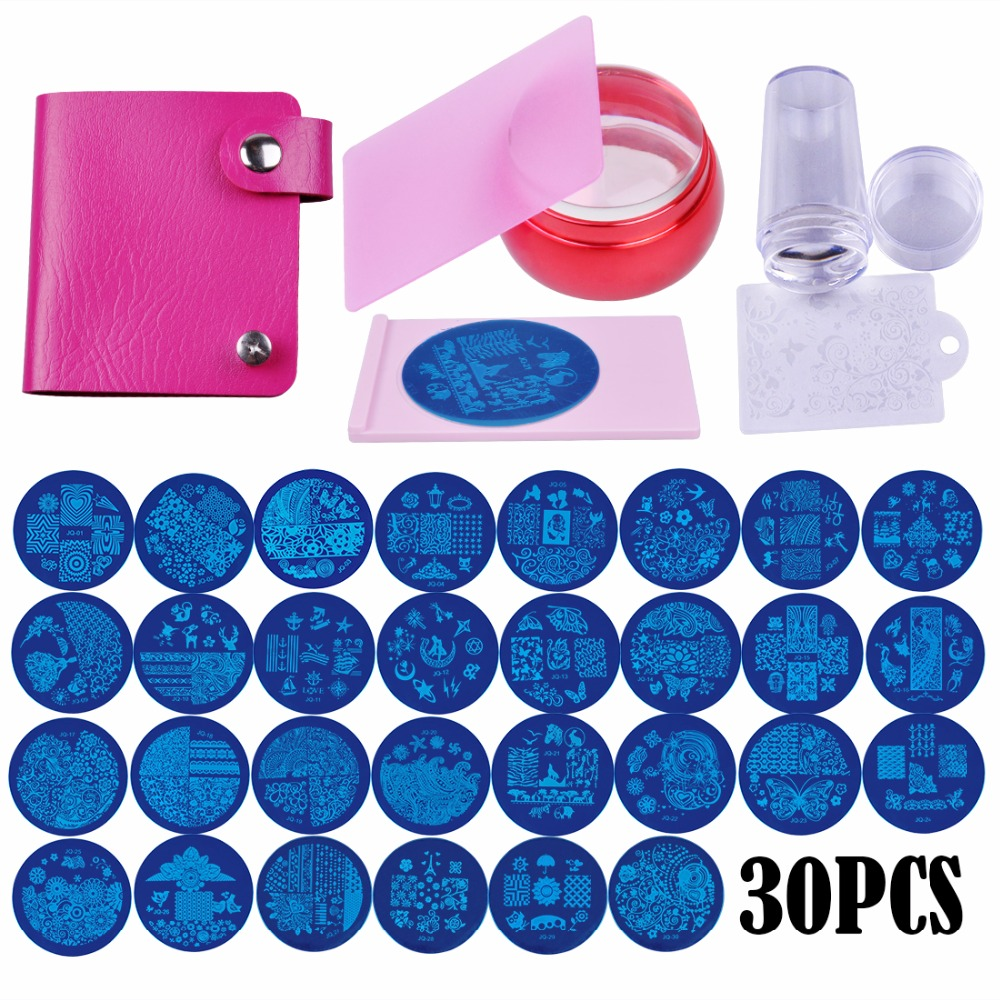 Biutee Nail Stamping Plates Set Flower Animal Pattern Nail Art Stamper & Scraper Template Image Plate Stencil Nails Tool