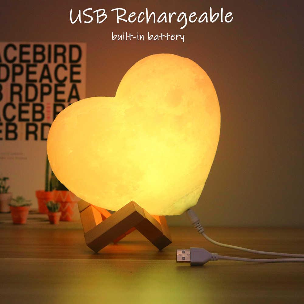 2020 personalizado lâmpada de lua com foto & texto, coração 3d, impressão da lua, luz noturna, presentes personalizados para férias de aniversário