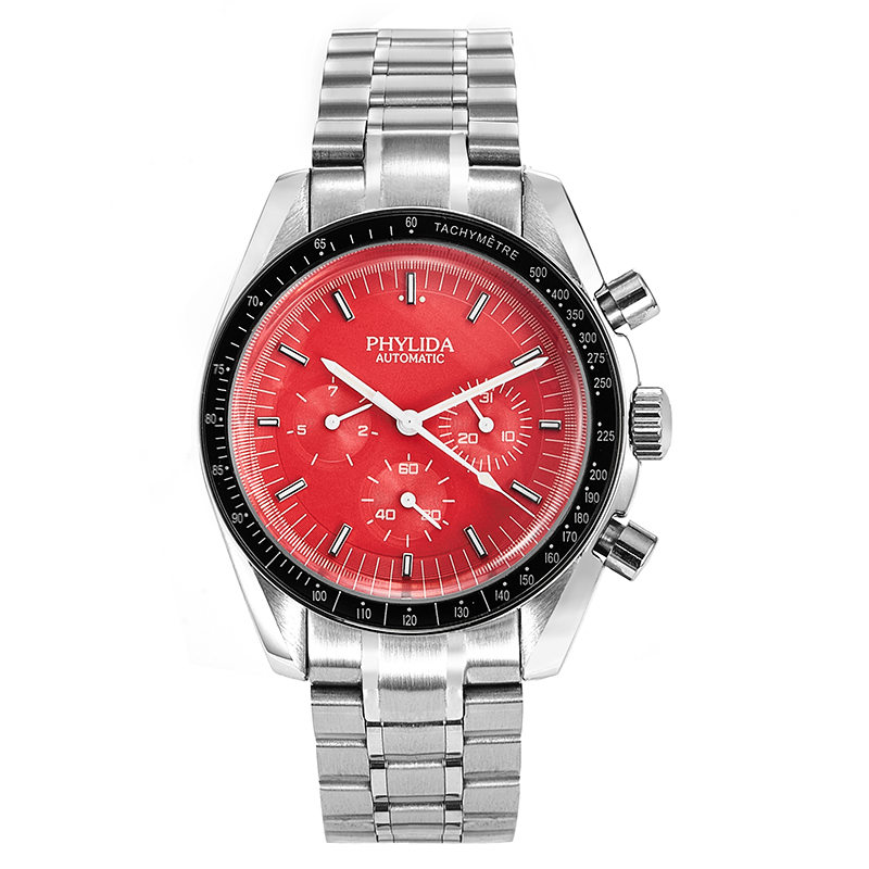 40mm Men's Watch Red Dial With Date Automatic Sport Wristwatch PHYLIDA Speed Solid stainless steel MOONWATCH